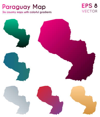 Map of Paraguay with beautiful gradients. Alluring set of Paraguay maps. Outstanding vector illustration. Illustration