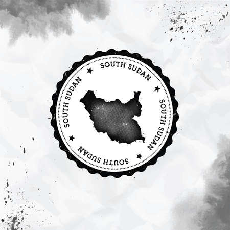 South Sudan watercolor round rubber stamp with country map. Black South Sudan passport stamp with circular text and stars, vector illustration. Standard-Bild - 122848692