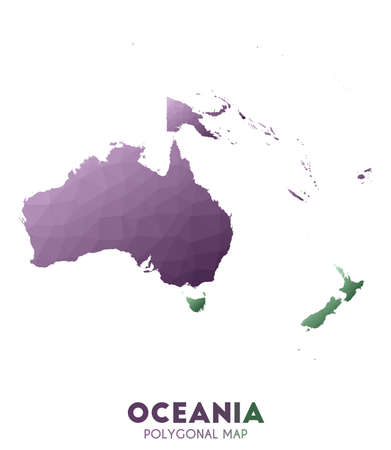 Oceania Map. actual low poly style continent map. Sublime vector illustration.