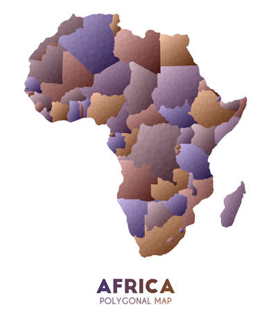 Africa Map. actual low poly style continent map. Authentic vector illustration.