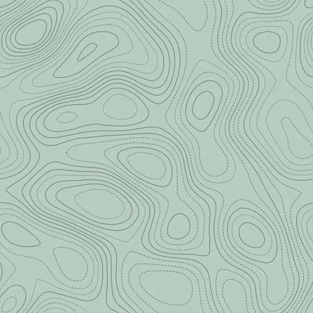 Amazing topography. Actual topographic map in green tones, seamless design, trending tileable pattern. Vector illustration.