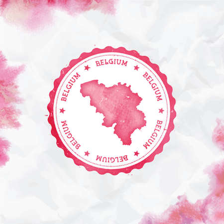 Belgium watercolor round rubber stamp with country map. Red Belgium passport stamp with circular text and stars, vector illustration. Standard-Bild - 122848699
