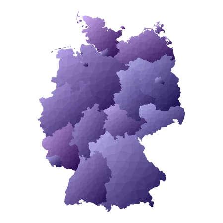 Mappa della Germania. Contorno del paese in stile geometrico. Bella illustrazione vettoriale viola.