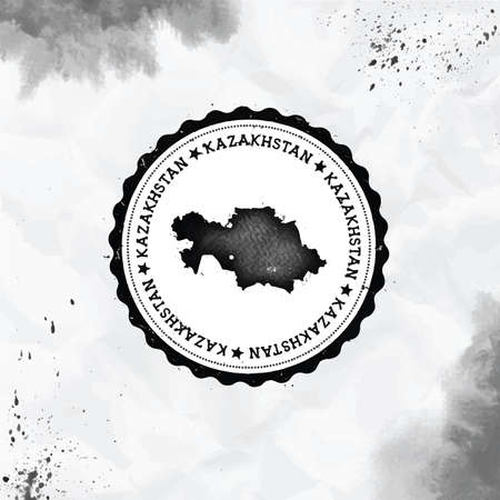 Kazakhstan watercolor round rubber stamp with country map. Black Kazakhstan passport stamp with circular text and stars, vector illustration. Standard-Bild - 122240781