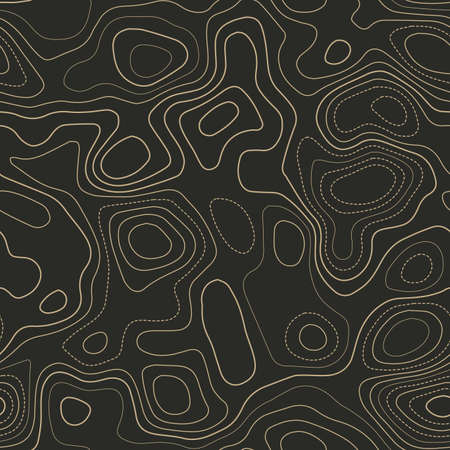 Amazing topography. Actual topography map. Seamless design. Ecstatic tileable isolines pattern, vector illustration.