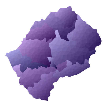 Lesotho map. Geometric style country outline. Wondrous violet vector illustration.