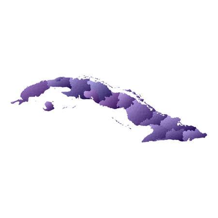 Cuba map. Geometric style country outline. Fair violet vector illustration.