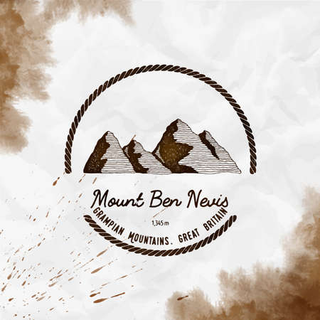 Mountain Ben Nevis   Round trekking sepia vector insignia. Ben Nevis in Grampian Mountains, Great Britain outdoor adventure illustration.
