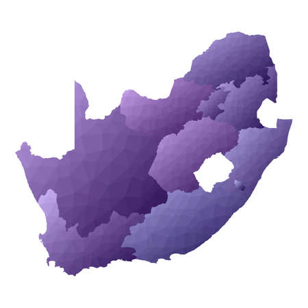 South Africa map. Geometric style country outline. Quaint violet vector illustration. Ilustração
