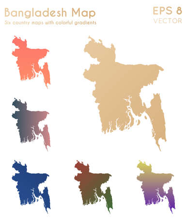 Map of Bangladesh with beautiful gradients. Actual set of Bangladesh maps. Posh vector illustration. 일러스트