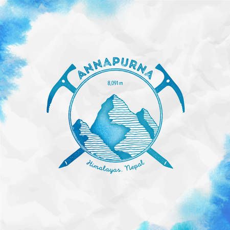 Annapurna Climbing mountain turquoise vector insignia. Annapurna in Himalayas, Nepal outdoor adventure illustration.