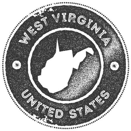 West Virginia map vintage stamp. Retro style handmade label, badge or element for travel souvenirs. Dark grey rubber stamp with us state map silhouette. Vector illustration.