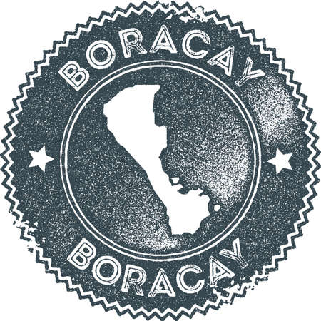 Boracay map vintage stamp. Retro style handmade label, badge or element for travel souvenirs. Dark blue rubber stamp with island map silhouette. Vector illustration.  イラスト・ベクター素材