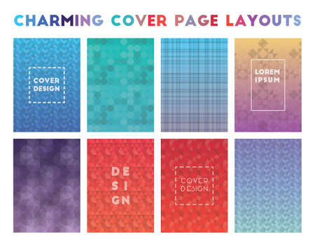 Charming Cover Page Layouts. Admirable geometric patterns. Rare background. Vector illustration.