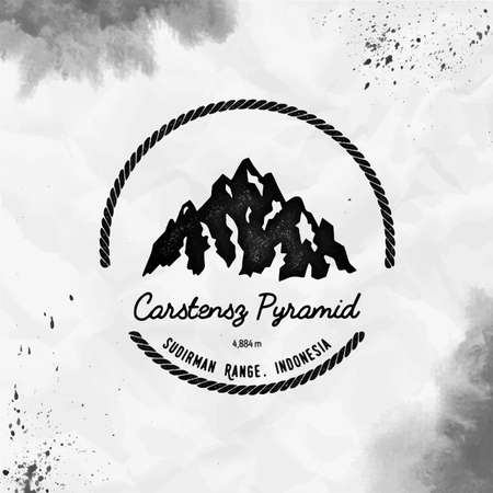 Mountain Carstensz Pyramid  Round hiking black vector insignia. Carstensz Pyramid in Sudirman Range, Indonesia outdoor adventure illustration.