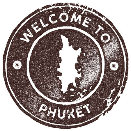 Phuket map vintage stamp. Retro style handmade label, badge or element for travel souvenirs. Brown rubber stamp with island map silhouette. Vector illustration.