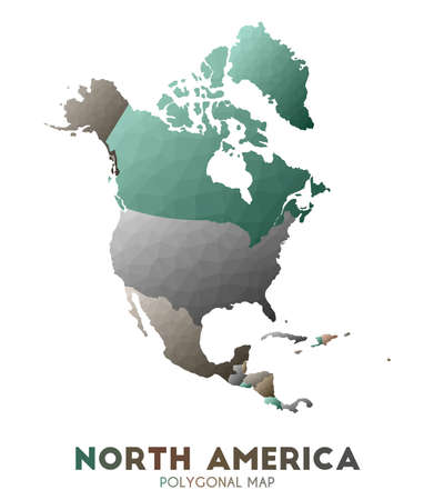 North-america Map. actual low poly style continent map. Outstanding vector illustration.