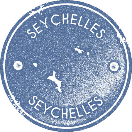 Seychelles map vintage stamp. Retro style handmade label, badge or element for travel souvenirs. Light blue rubber stamp with island map silhouette. Vector illustration.