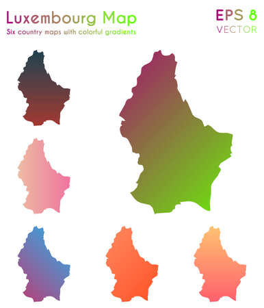 Map of Luxembourg with beautiful gradients. Alive set of Luxembourg maps. Mind-blowing vector illustration.