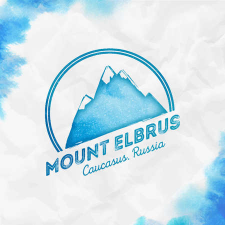 Elbrus   Round mountain turquoise vector insignia. Elbrus in Caucasus, Russia outdoor adventure illustration. Climbing, trekking, hiking, mountaineering and other extreme activities  template.