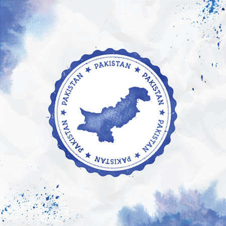 Pakistan watercolor round rubber stamp with country map. Blue Pakistan passport stamp with circular text and stars, vector illustration.