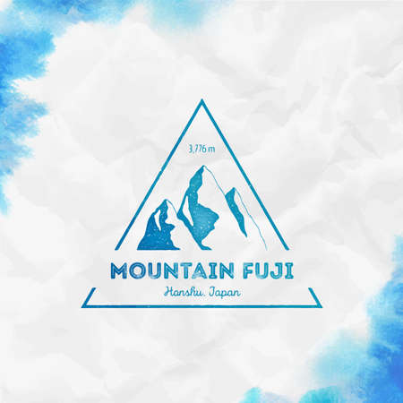Fuji  Triangular mountain turquoise vector insignia. Fuji in Honshu, Japan outdoor adventure illustration. Climbing, trekking, hiking, mountaineering and other extreme activities template.
