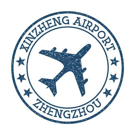 Xinzheng Airport Zhengzhou logo. Airport stamp vector illustration. Zhengzhou aerodrome.