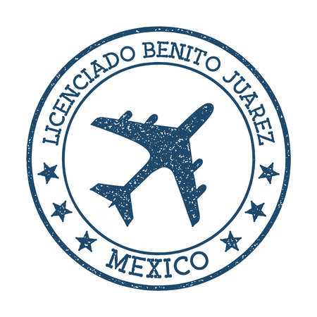 Licenciado Benito Juarez Mexico logo. Airport stamp vector illustration. Mexico City aerodrome.