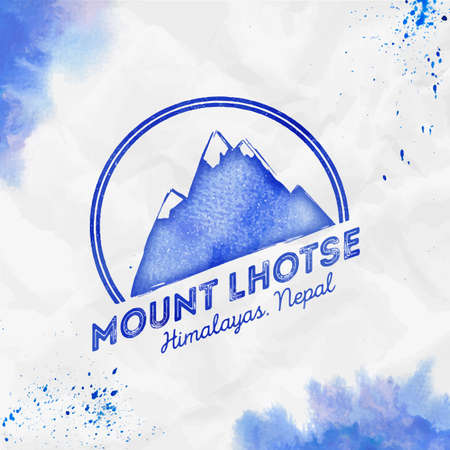 Lhotse  Round mountain blue vector insignia. Lhotse in Himalayas, Nepal outdoor adventure illustration. Climbing, trekking, hiking, mountaineering and other extreme activities logo template. Illustration