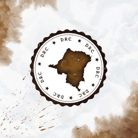Congo, The Democratic Republic Of The watercolor round rubber stamp with country map. Sepia Congo, The Democratic Republic Of The passport stamp with circular text and stars, vector illustration.
