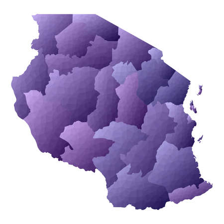 Tanzania map. Geometric style country outline. Nice violet vector illustration.