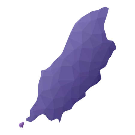 Isle of Man map. Geometric style country outline. Powerful violet vector illustration.