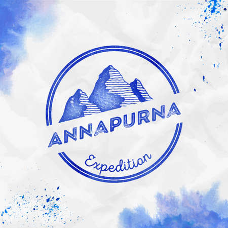 Mountain Annapurna Round expedition blue vector insignia. Annapurna in Himalayas, Nepal outdoor adventure illustration.