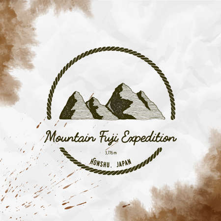 Fuji   Round trekking sepia vector insignia. Fuji in Honshu, Japan outdoor adventure illustration. Climbing, trekking, hiking, mountaineering and other extreme activities  template.