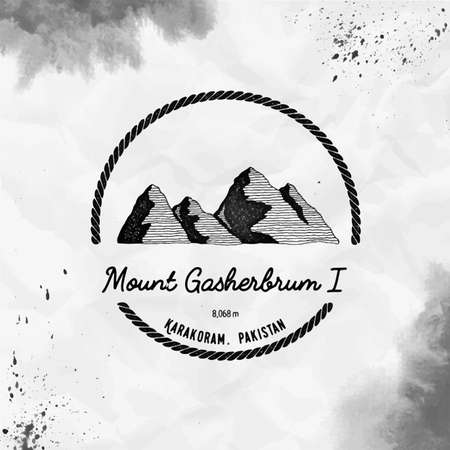 Gasherbrum I Round trekking black vector insignia. Gasherbrum I in Karakoram, Pakistan outdoor adventure illustration.