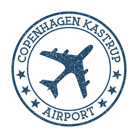 Copenhagen Kastrup Airport logo. Airport stamp vector illustration. Copenhagen aerodrome. Standard-Bild - 122667786