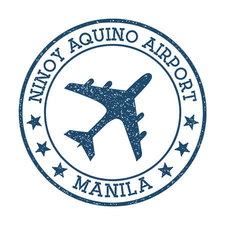 Ninoy Aquino Airport Manila logo. Airport stamp vector illustration. Manila aerodrome.