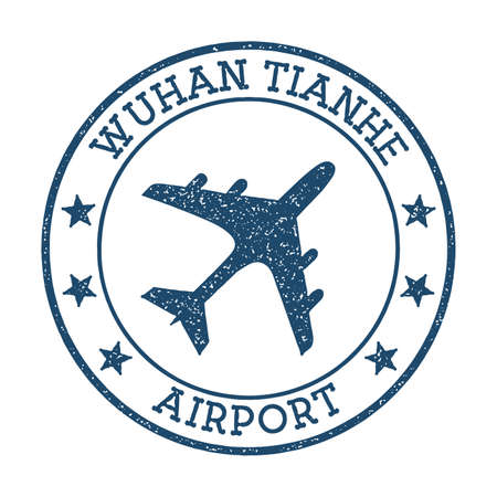 Wuhan Tianhe Airport logo. Airport stamp vector illustration. Wuhan aerodrome.