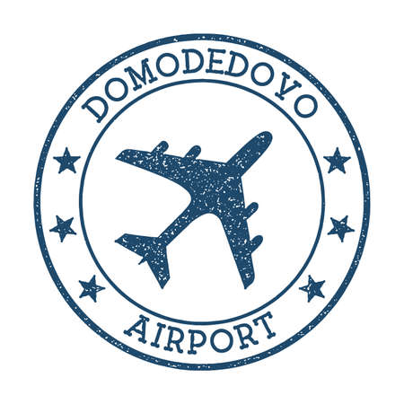 Domodedovo Airport logo. Airport stamp vector illustration. Moscow aerodrome.