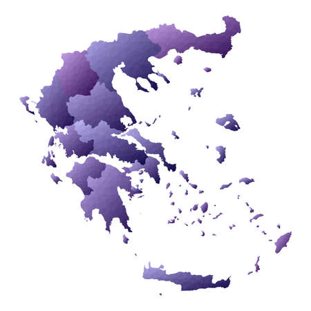 Greece map. Geometric style country outline. Neat violet vector illustration. Illustration