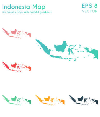Map of Indonesia with beautiful gradients. Adorable set of Indonesia maps. Powerful vector illustration.