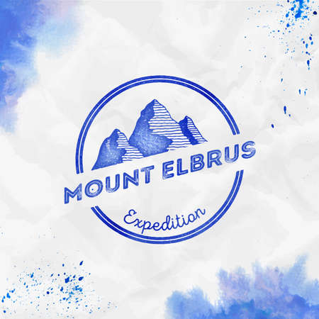 Elbrus   Round expedition blue vector insignia. Elbrus in Caucasus, Russia outdoor adventure illustration. Climbing, trekking, hiking, mountaineering and other extreme activities  template. Illustration