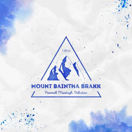 Mountain Baintha Brakk   Triangular mountain blue vector insignia. Baintha Brakk in Panmah Muztagh, Pakistan outdoor adventure illustration. Ilustração