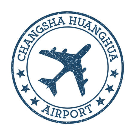 Changsha Huanghua Airport logo. Airport stamp vector illustration. Changsha aerodrome.