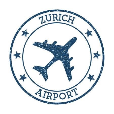 Zurich Airport logo. Airport stamp vector illustration. Zurich aerodrome.