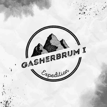 Gasherbrum I   Round expedition black vector insignia. Gasherbrum I in Karakoram, Pakistan outdoor adventure illustration. Çizim