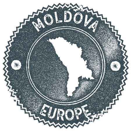 Moldova map vintage stamp. Retro style handmade label, badge or element for travel souvenirs. Dark blue rubber stamp with country map silhouette. Vector illustration.