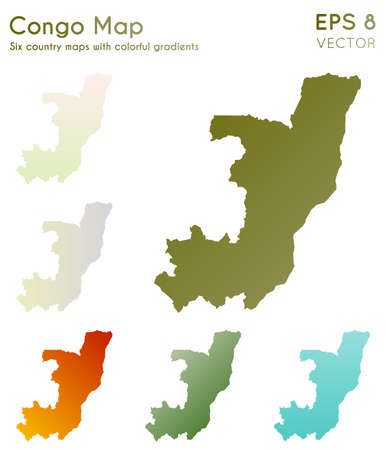 Map of Congo with beautiful gradients. Admirable set of Congo maps. Favorable vector illustration.