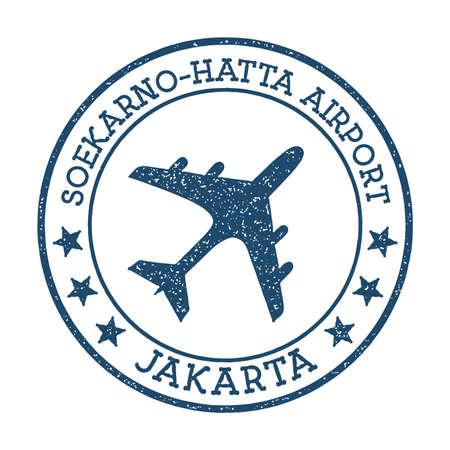 Soekarno-Hatta Airport Jakarta logo. Airport stamp vector illustration. Jakarta aerodrome. Standard-Bild - 122400463