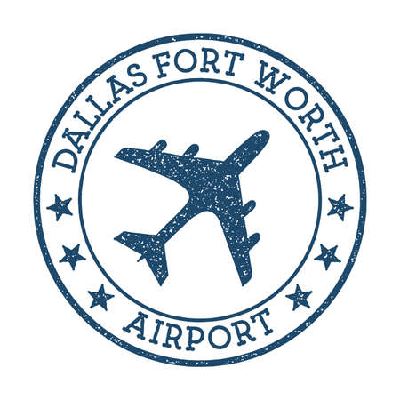 Dallas Fort Worth Airport logo. Airport stamp vector illustration. Dallas-Fort Worth aerodrome.